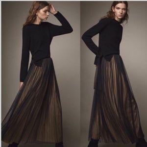 Massimo Dutti  black tulle pleat maxi skirt